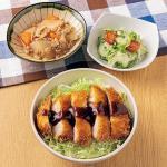 <岡山>デミカツ丼 ツナ大根・彩り野菜の塩麹漬け