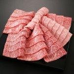 A5等級国産黒毛和牛の焼肉用盛り合わせ。人気の3部位、赤身とカルビとロース