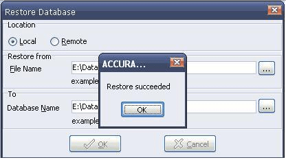 Restore Database ACCURATE 4.2