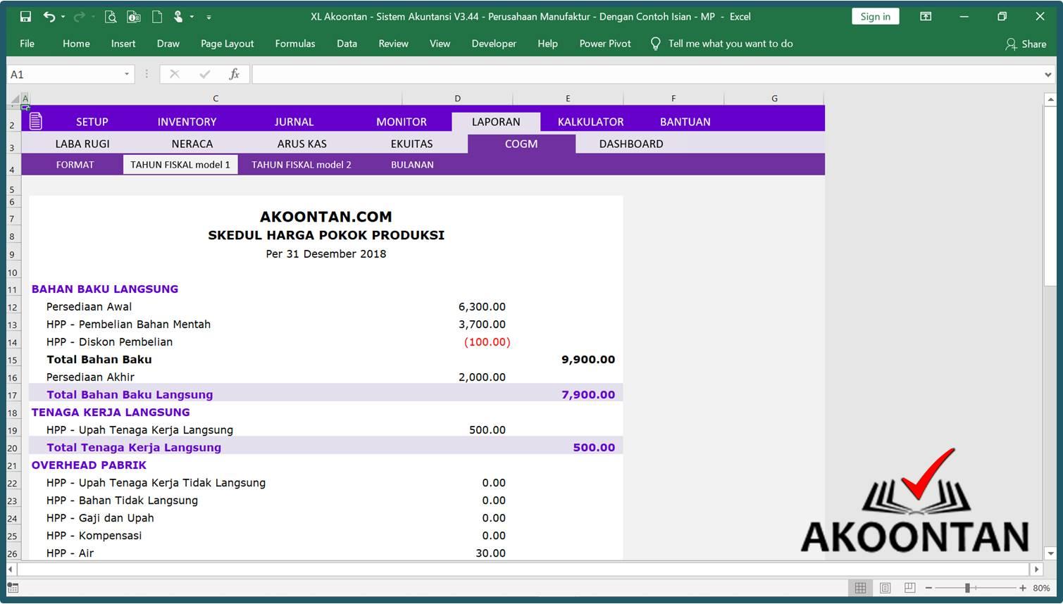 Excel Akuntansi Perusahaan Manufaktur