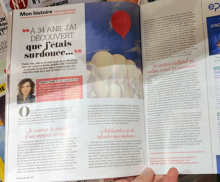photo de la double page interview dans Femme actuelle
