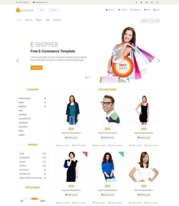 E-Shopper — Best Free Ecommerce HTML Template