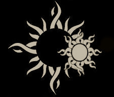 Twin Suns Flag from the Amassia Series by A K Wilder