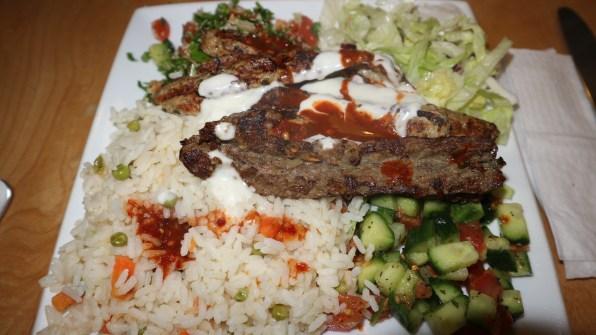 Mixed Kebab with rice and salad