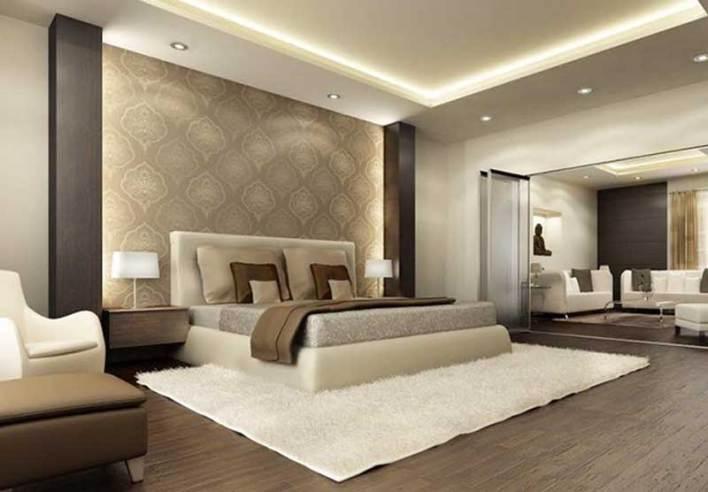 نموذج لإستغلال الحائط الخلفي في غرف النوم