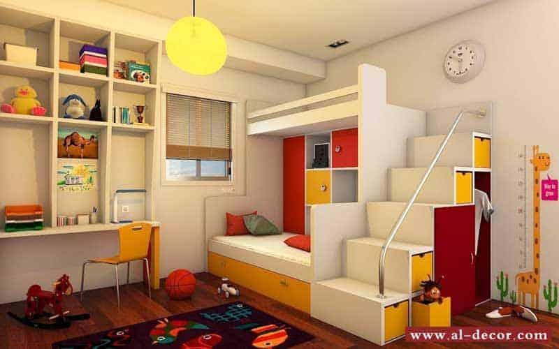غرفة نوم اطفال ذات أماكن مثالية لتخزين الألعاب