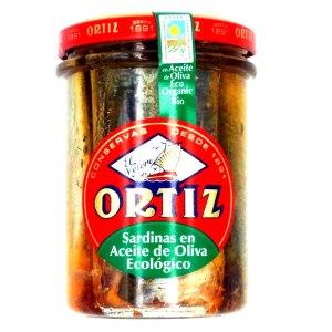 Sardinas en aceite oliva ECO. Tarro cristal 210gr. Ortiz.