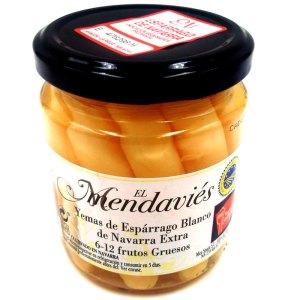 Espárragos, puntas blancas D.O. Navarra. Tarro cristal 230gr. 6/12 frutos. Mendavíes