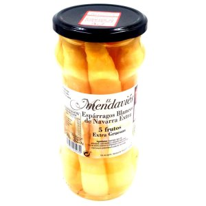 Espárragos blancos D.O. de Navarra extra grueso. Tarro cristal 540gr. 5 frutos. Mendavíes.
