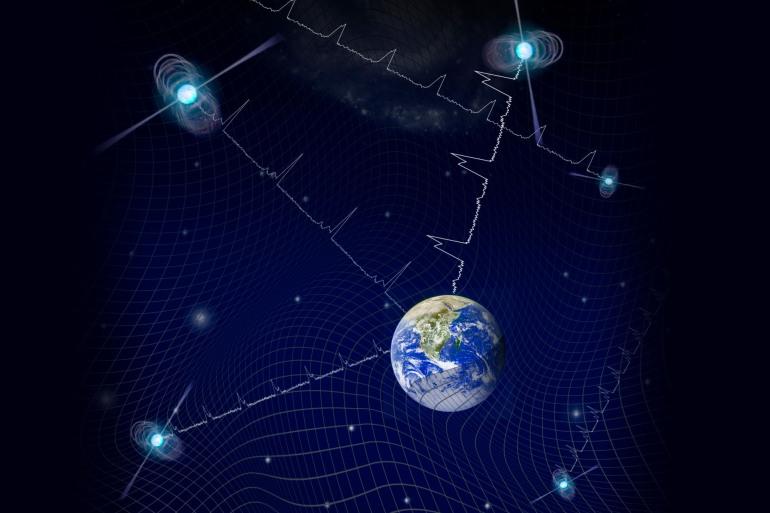 رصد النجوم النابضة كشف تأثير الموجات الجاذبية عليها (جامعة كولورادو بولدر)