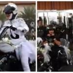 بالفيديو:عروس إماراتية تزف على الدراجة النارية في شوارع أبوظبي
