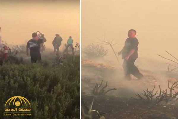 بالفيديو.. ملك الأردن يحمل أسطوانة إطفاء ويشارك بإخماد حريق