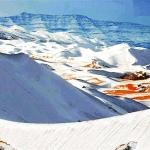 شاهد .. الثلوج تكسو رمال الصحراء الكبرى في ظاهرة نادرة بالجزائر