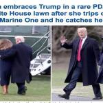 بالفيديو .. شاهد ردة فعل ترامب تجاه زوجته قبل سقوطها وهي في طريقها لصعود المروحية