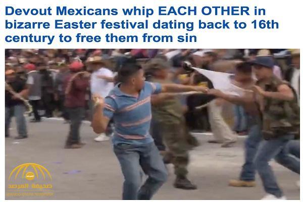 شاهد: مسيحيون يحتفلون بعيد القيامة ويجلدون بعضهم بالسوط من أجل تطهيرهم من الذنوب!