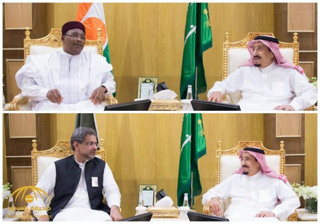 بالصور : خادم الحرمين يلتقي رئيس جمهورية النيجر و رئيس وزراء باكستان