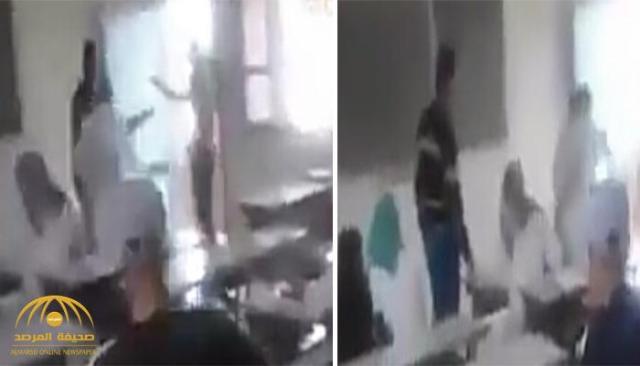 شاهد.. طالب يتبادل الضرب مع معلمته في مدرسة بالمغرب
