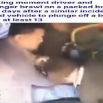 بعد أيام من مصرع 13 شخص لنفس السبب .. شاهد معركة بين سائق حافلة وراكب