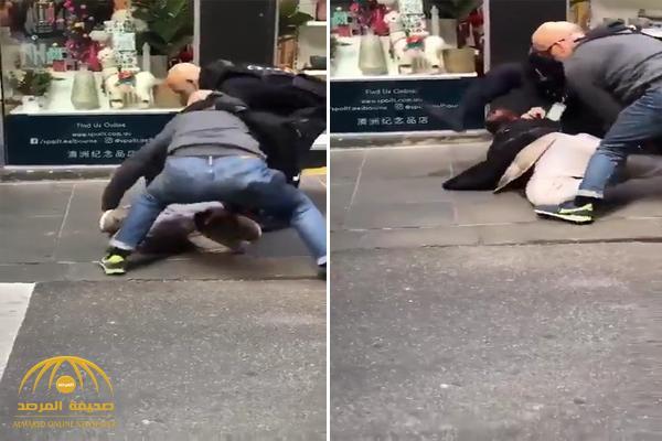 شاهد .. فيديو جديد لحظة القبض على منفذ عملية الطعن في أستراليا بعد إطلاق النار عليه