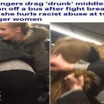 """شاهد: ردة فعل فتاتين بعد أن قامت امرأة """"مخمورة """" بمضايقتهما داخل حافلة في بريطانيا !"""