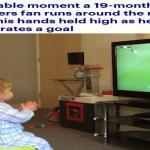 شاهد : ردة فعل مثيرة من طفل بريطاني بعد أن سجل فريقه هدفاً على منافسه !