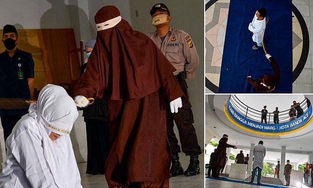 شاهد: صور لتطبيق حد الجلد ضد ٦ إندونيسيين بينهم امرأة بعد ضبطهم داخل فندق