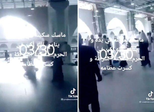 """شاهد.. فيديو جديد أثناء القبض على """"الإرهابي"""" بعد خبطه بالكرسي والسيطرة عليه داخل الحرم"""