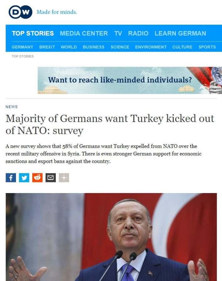 استطلاع رأي لطرد تركيا من حلف الناتو