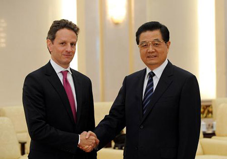 U.S. Treasury Secretary Timothy Geithner and President Hu Jintao in June 2009