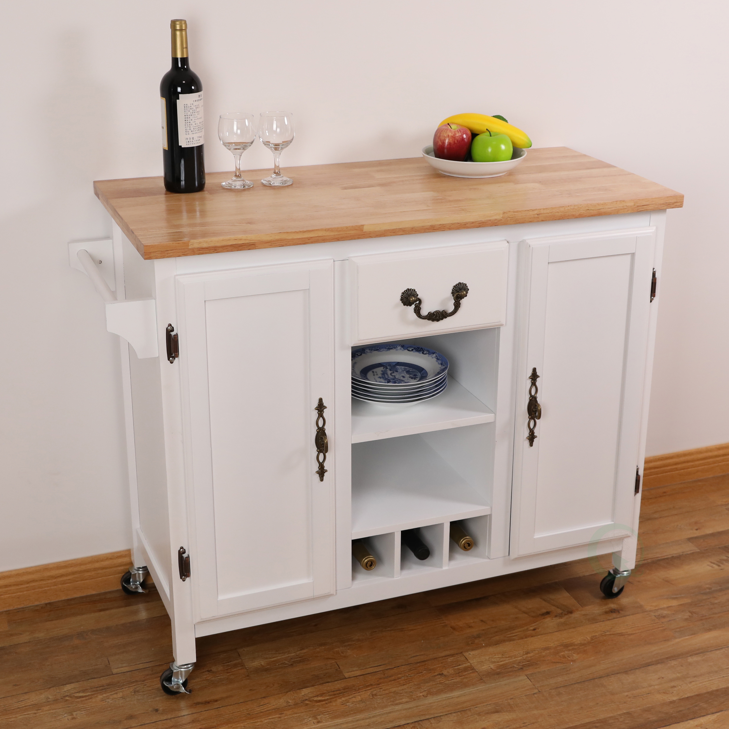 New Large Wooden Kitchen Island Trolley With Heavy Duty Rolling Casters Ebay