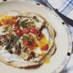fried eggs herb yogurt