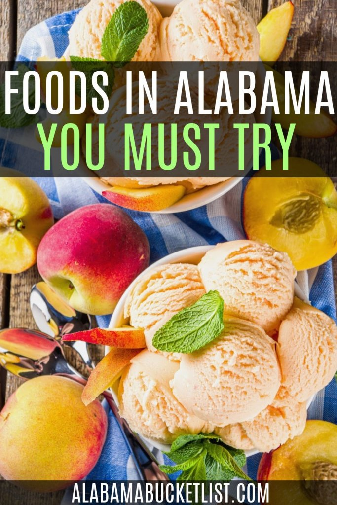 Indulgent desserts, Southern staples, and exclusive Alabama snacks are some of the types of foods in Alabama you'll find on this list! #alabama #food #visitalabama #foodtrails #southernfood #foodie