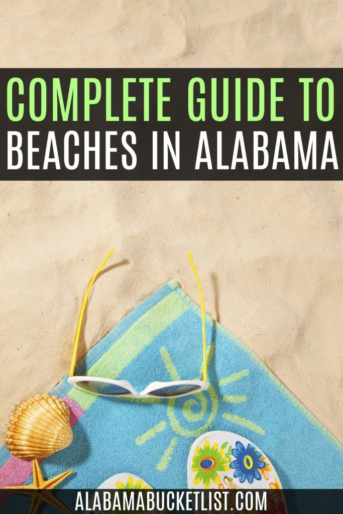 Pinterest pin graphic with beach sand, towel, sunglasses, and seashell with post title overlay