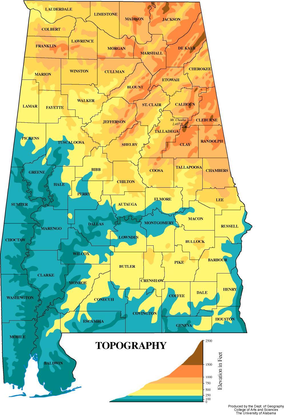 Alabama Elevation Map | atlasofalabama