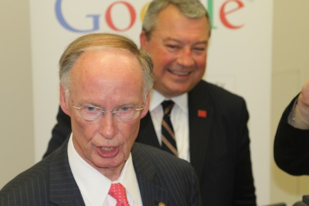 Alabama Gov. Robert Bentley and Alabama Commerce Secretary Greg Canfield after Google announced plans to build a $600 million data center in Alabama. (Governor's Office, Jamie Martin)