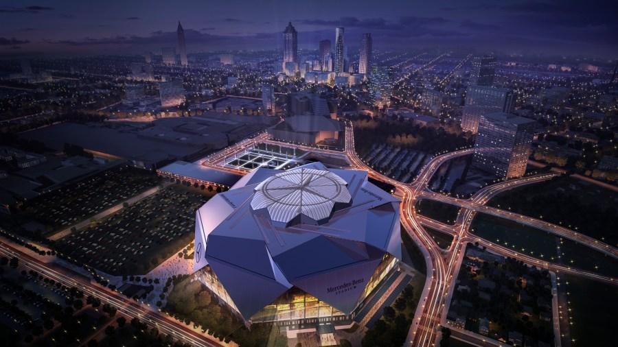 The future Mercedes-Benz stadium as designers envision it at night in Atlanta. (Atlanta Falcons)