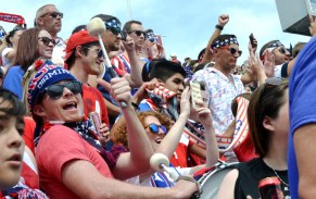 Fans cheer (and drum) on the U.S. Women's National Soccer Team at Legion Field Sunday.(Solomon Crenshaw Jr./Alabama NewsCenter)