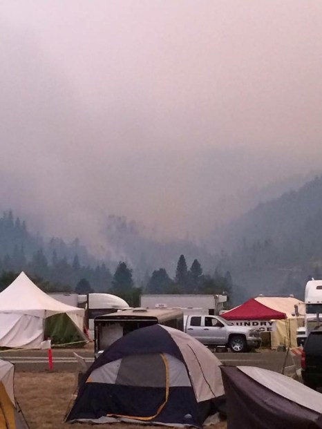 Smoke envelopes a camp site. (Ethan Barrett/contributed)