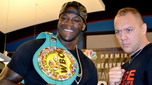 Deontay Wilder and Johann Duhaupas pose at a press conference earlier this week. (Solomon Crenshaw Jr./Alabama NewsCenter)