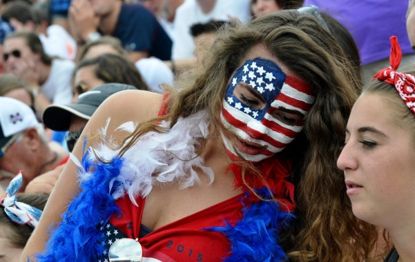 Nicole Matis wore patriotic makeup for the U.S. Women's National Soccer Team match, which she attended with Madison Staubach. (Solomon Crenshaw Jr./Alabama NewsCenter)