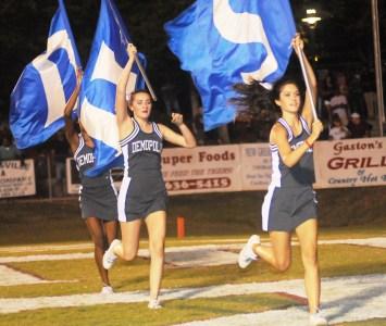 Demopolis cheerleaders take the field. (contributed)