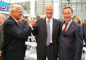 Airbus officials, l-r, Allan McArtor, Airbus Group, Inc. Chairman and CEO; Tom Enders, Chief Executive Officer of Airbus Group; and Fabrice Bregier, Airbus President and CEO, celebrate after the grand opening ceremony of Airbus U.S. Manufacturing Facility on Monday, Sept. 14, 2015, in Mobile, Ala. (Mike Kittrell/Alabama NewsCenter)