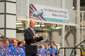 Tom Enders, Chief Executive Officer of Airbus Group, makes remarks during the grand opening ceremony of Airbus U.S. Manufacturing Facility on Monday, Sept. 14, 2015, in Mobile, Ala. (Mike Kittrell/Alabama NewsCenter)