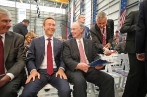 Fabrice Bregier, Airbus President and CEO, left, and Alabama Gov. Robert Bentley talk before the grand opening ceremony of Airbus U.S. Manufacturing Facility on Monday, Sept. 14, 2015, in Mobile, Ala. (Mike Kittrell/Alabama NewsCenter)