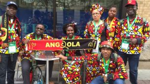 Teles Cama (kneeling) came with a group of 64 from Angola to see the Pope.