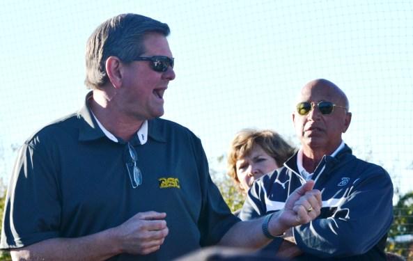 Joe Dean Jr., Birmingham-Southern College athletic director, speaks during the tribute to Preston Goldfarb. (Solomon Crenshaw Jr./Alabama NewsCenter)