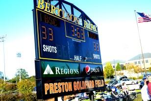 The final scoreboard of Sunday's game paid tribute to Preston Goldfarb. (Solomon Crenshaw Jr./Alabama NewsCenter)