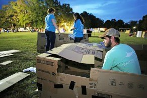 Kyle Woodham of Mobile and other members of Forest Hill United Methodist Church participate in Cardboard City held at Alabama School of Mathematics and Science in Mobile. (Mike Kittrell/Alabama NewsCenter)