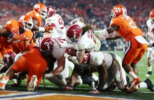 Crimson Tide running back Derrick Henry finds the end zone. (Kent Gidley/UA Athletics)