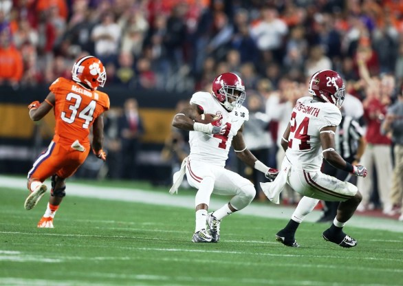 Crimson Tide safety Eddie Jackson makes an interception. (Kent Gidley/UA Athletics)